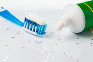 toothpaste and brush